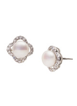 Sterling Silver Petal Shaped Earrings with Freshwater Pearls and Cubic Zirconia