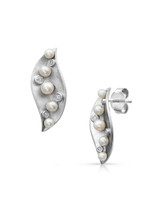 Sterling Silver Leaf Shaped Matte Earrings with Akoya Pearl and Sapphire