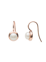 Sterling Silver Circle Hook Earrings with Freshwater Pearls