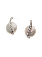 Sterling Silver Coin Earrings with Freshwater Pearls and Sapphite
