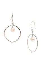 Sterling Silver Open Hoop Dangle Earrings with Freshwater Pearls