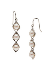 Sterling Silver Dangle Link Hook Earrings with Freshwater Pearls