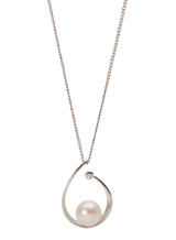 Sterling Silver Open Pear Shaped Pendant with Freshwater and Diamond