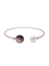 Sterling Silver Pearl Bangle Bracelet with Freshwater Cultured Button Pearls and Mother of Pearl