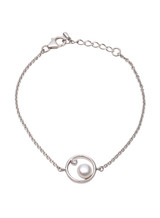 Sterling Silver Moonlight Bracelet with White Topaz and Button shaped Freshwater Cultured Pearl