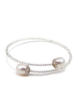 Sterling Silver Elastic Bangle with Freshwater Pearls