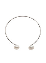 Sterling Silver Flexible Bangle Bracelet with Freshwater Cultured Pearls