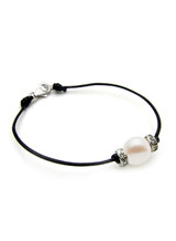 Leather Cord Bracelet with Freshwater Cultured Pearl and Cubic Zirconia