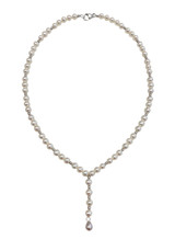 Natural Color White Freshwater Cultured Pearl with Sterling Silver Phodium Plated Beads Y Necklace