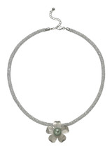 Sterling Silver Flower Necklace with Cubic Zirconia and Tahitian Pearl