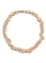 Twisted Multicolor Peach Freshwater Pearls Necklace