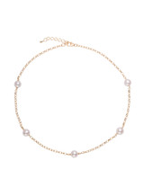 Sterling Silver Gold Plated Tin Cup Freshwater Pearls Necklace