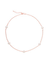 Sterling Silver Rose Gold Plated Tin Cup Freshwater Pearls Necklace