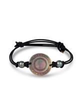 Circular Carved Mother of Pearl Leather Cord Bracelet