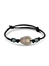 Pear Shaped Mother of Pearl Leather Cord Bracelet