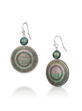 Circular Carved Mother of Pearl Sterling Silver Hook Earrings