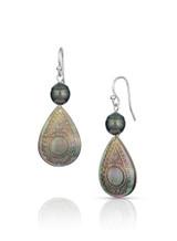 Pear Shaped Mother of Pearl Sterling Silver Hook Earrings