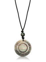 Circular Carved Mother of Pearl Leather Cord Necklace
