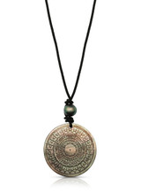Sundial Motif Carved Mother of Pearl Leather Cord Necklace