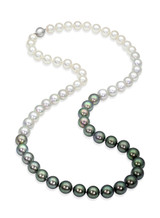 Tahitian and Akoya Pearls Color Graduation Necklace