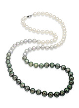Tahitian and Akoya Pearls Color Graduation Necklace with X Clasp