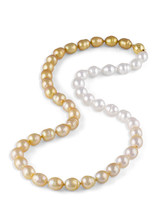 "White and Golden South Sea Drop Circle Pearl Color Graduation 22"" Necklace"