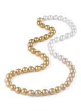 "White and Golden South Sea Drop Circle Pearl Color Graduation 26"" Necklace"