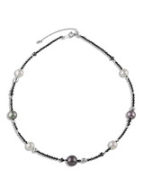 "18K Tahitian and Akoya Cultured Pearl And Black Diamond 18"" Necklace"
