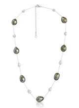 14K Tahitian Keshi and Drop Cultured Pearl Chain Necklace