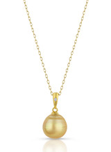 14KYG Circle Golden South Sea Cultured Pearl Single Diamond Pendant