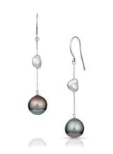 14KWG Tahitian Cultured Pearl Chain Earrings