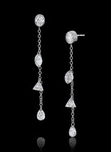 14K White Gold Oval and Mixed Diamond Dangle Earrings