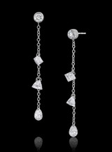 14K White Gold Round and Mixed Diamond Dangle Earrings
