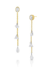 14K Yellow Gold Oval and Mixed Diamond Dangle Earrings
