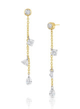 14K Yellow Gold Round and Mixed Diamond Dangle Earrings