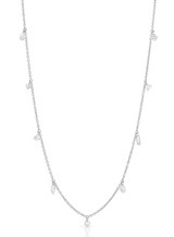 14K White Gold Mixed Laser Drilled Diamond Necklace