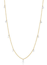 14K Yellow Gold Mixed Laser Drilled Diamond Necklace