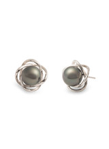 Sterling Silver Petal Shaped Earrings with Tahitian Pearls