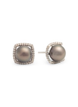 Sterling Silver Square Shaped Earrings with Tahitian Pearls and Sapphire