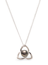 Sterling Silver Triangle Shaped with Tahitian Pearl and Sapphire