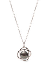Sterling Silver Petal Shaped Pendant with Tahitian Pearl