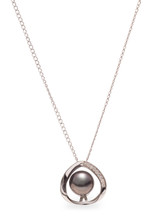 Sterling Silver Off Shaped Oval Pendant with Tahitian Pearl and Sapphire