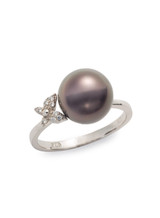 Sterling Silver Butterfly Ring with Tahitian Cultured Pearl and Sapphire