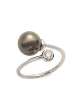 Sterling Silver Bypass Ring with Tahitian Pearl and Sapphire