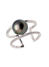Sterling Silver Split Shank Ring with Tahitian Pearl and Sapphire