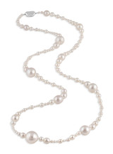 White South Sea and Akoya Long Necklace