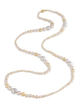 White South Sea and Multicolor Akoya Long Necklace