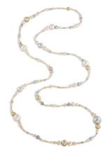 White and Golden South Sea and Multicolor Akoya Long Necklace