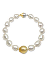 White South Sea Pearl Necklace with Centered Golden South Sea Pearl