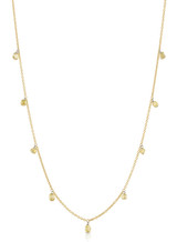 18K Yellow Gold Mixed Laser Drilled Diamond Necklace